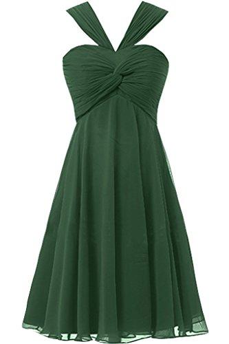 Sunvary Sbuffi Prom A-line Chiffon con collo A V, da damigella Homecoming Gowns Dark Green