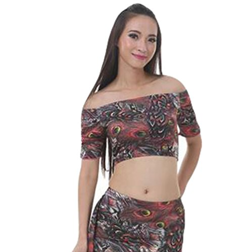 ZhiYuanAN 3Pcs Costume De Paon Jupe Costume De Danse Du ventre Tops & Pantalon & Jupe Set KQRouge