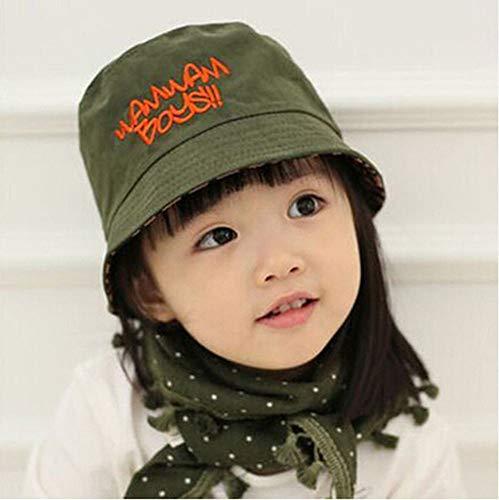 zhouzhou666 Kinder Standard-Becken Mütze Baby Fischer Hut Stickerei Tuch Jungen Und Mädchen Baumwolle Sonnenhut, Armee ()