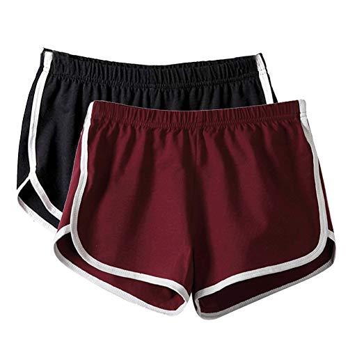 Mangotree Damen Sport Shorts Retro Shorts Aktiv Yoga Shorts Hose mit Farbig Abgesetzen Rändern (EU XL=Tag 3XL (Taille: 68-74cm), B# Schwarz + Rot)