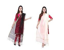 Dupatta Bazaar Womens Dupatta (Pack of 2)(CD0035_Multi-Coloured_Free Size)