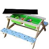 Jolitac 3 in 1 Kinder Picknicktisch Sand und Wasser Spieltisch Maltafel Kindersitzgruppe Gartentisch Sitzgarnitur Holz Kindertisch 2 Bänke 1 Tisch mit Polsterauflage
