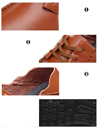 Pump Business Casual Chaussures en cuir Slip on Loafer Hommes Retro Round Toe Pure Color British ShoeLace Plate Chaussures Chaussures de course Eu Taille 38-47 Dark brown