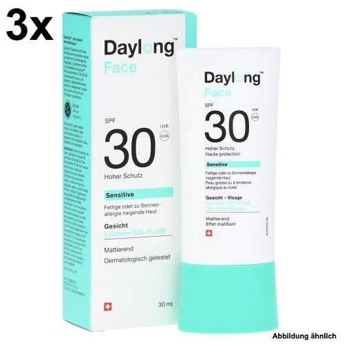 Daylong Face Gelfluid SPF 30 Spar-Set 3x30ml.Bietet ein angenehmes Hautgefühl. Für täglichen Sonnenschutz im Gesicht.Als Make-Up-Grundlage geeignet.Besonders für fettige Haut geeignet
