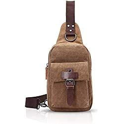 GJBXP Sling Bag Shoulder Crossbody Bag Student Outdoor Sport Portable Large Capacity Man/Woman Waterproof Polyester Grey A Brown