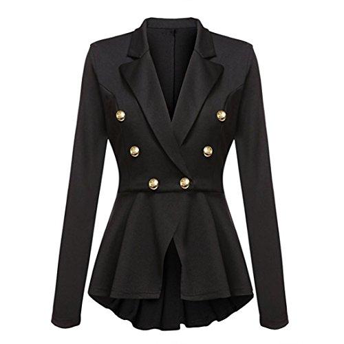 VEMOW Herbst Winter Frauen Casual Arbeit Büro Einfarbig Langarm Pen Front Kurz Blazer Jacke Rüschen Schößchen Taste Freizeitjacke Mantel Outwear(Schwarz, EU-46/CN-XXL)