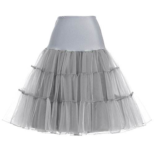 1950s Vintage Petticoat Unterröcke damen knielang Grau reifrock für Rockabilly Kleid Wedding...