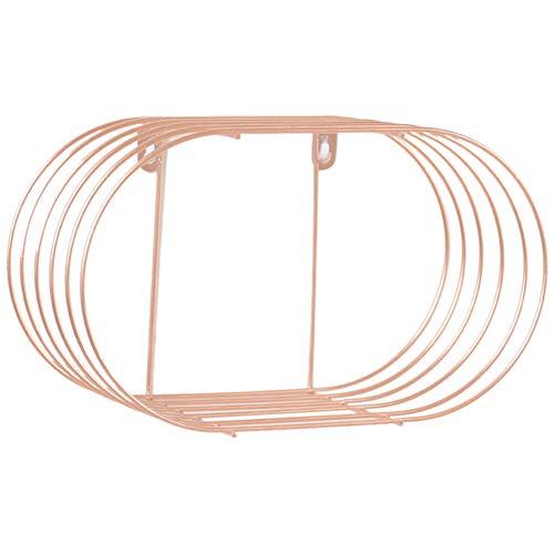 Portaoggetti comodino ovale organizzatore moderno supporto a parete decorazioni per la casa durevole mensola in ferro battuto portaoggetti mestiere soggiorno salvaspazio(oro rosa)