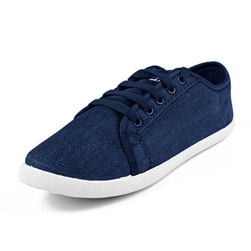 Asian shoes LR-13 Navy Blue Canvas Ladies Shoes