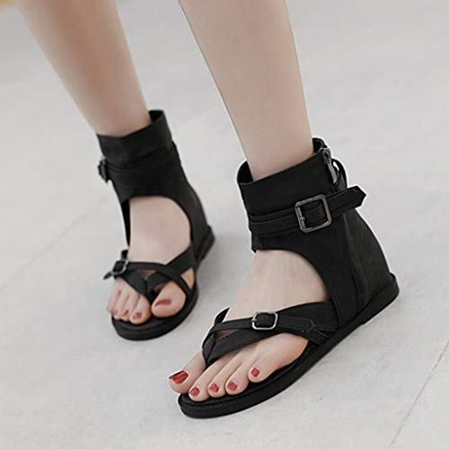 Sunnywill 2019 Roma Donna Open Toe Boots Low Sandals Fibbia alla caviglia Ankle Buckle Summer Zip Cool Thong Shoes Nero, Marrone