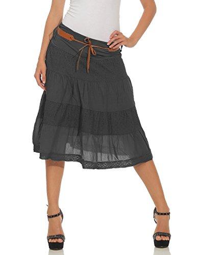 Zarmexx Damen Midirock Baumwollrock Sommerrock Knielang mit Gürtel Baumwolle Rüschen Stoff Rock A-Linie (One Size, 36-40) - Kleid Rüschen Rock