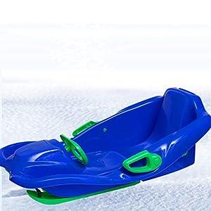 LJW Schlitten Rodeln Niedertemperatur-Polyethylen HDPE Kordelzug Bremsen Schnalle Erwachsene Kind Vaterschaft 98 * 60 * 35cm