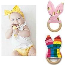 Inchant fai da te 2pcs teether orecchie da coniglio Organic anello di dentizione in legno per il giocattolo molari bambino denti esercizio con piega materiale all'interno / giocattolo sensoriale