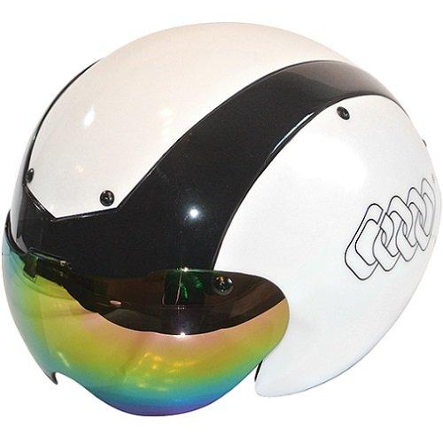 Casco para bicicleta C ORIGINALS G14 Aero, para bicicleta de carretera, contrarreloj, triatlón, TT, pista, carrera, 2 viseras, color negro/blanco, tamaño S/M 54cm-58cm