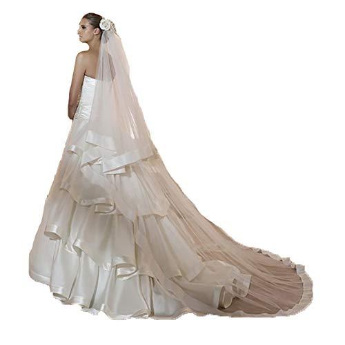 ROOkii Hochzeit Brautschleier Ribbon Edge Center Kathedrale Brautschleier Lange Brautschleier für Frauen -