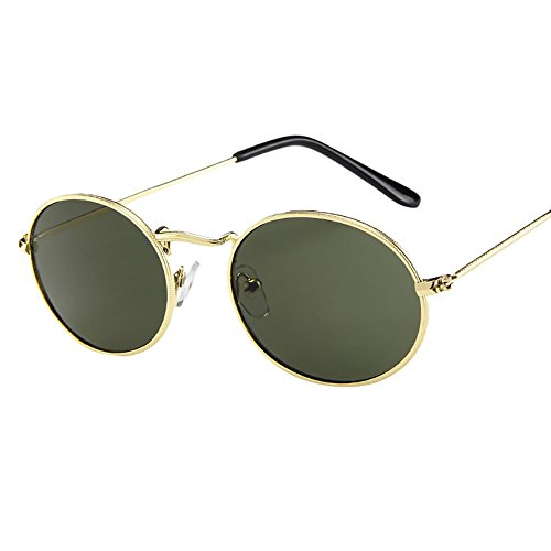 TWISFER Damen Sonnenbrille Vintage Retro Oval Sonnenbrille Ellipse Metallrahmen Brille Trendy Fashion Shades(E,One Size)