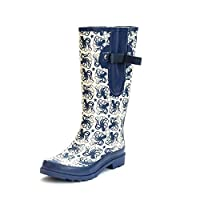Inky Octopus Ladies Adjustable Wide Calf Rubber Wellington Boots UK 4-10 (max 52cm) (7 UK) Blue