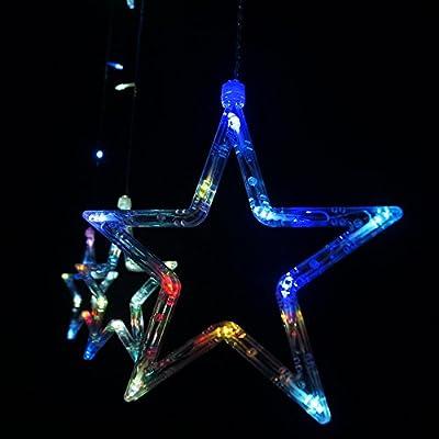 Salcar Lichterkette mit LED Kugel 12 Sterne 138 Leuchtioden Lichtervorhang Sternenvorhang von Salcar auf Lampenhans.de