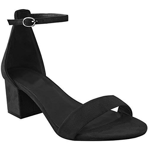 Fashion Thirsty Heelberry Donna Tacco Basso e Largo Sandali Neri Cinturino alla Caviglia Lavoro Scarpe Eleganti Taglia - Nera Pelle Scamosciata, 36