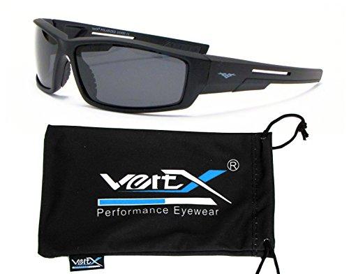 VertX Herren Polarisierte Sonnenbrille Sport Radfahren Laufen im Freien - Schwarzer Rahmen - Getöntes