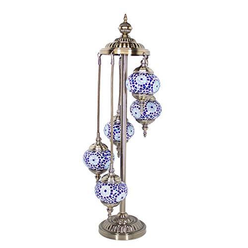 Kindgoo Türkische Marokkanische Stehlampe für Wohnzimmer Glasmosaik mit 5 Lichtern, LED Glühbirnen Inklusive (Blau) -