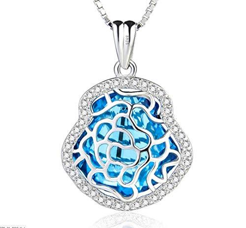 L&H 925 Silber Schmuck Kristall Blume Anhänger Sea Blue Short Halskette Schmuck für Frauen