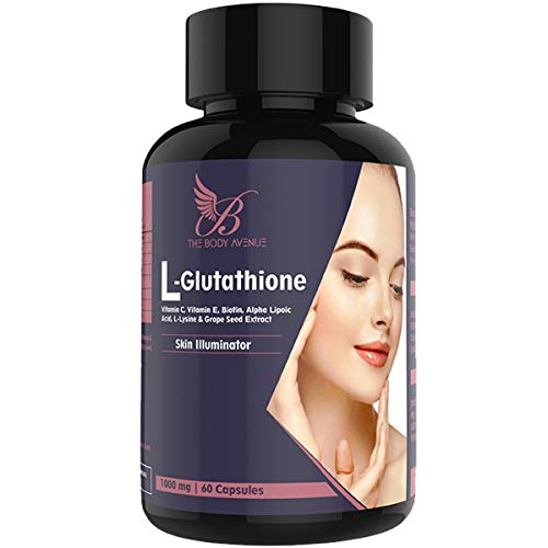 The Body Avenue L Glutathione Reduced with Grapeseed, Biotin, Vitamin C, Vitamin E for Skin 1000mg - 60 Capsules