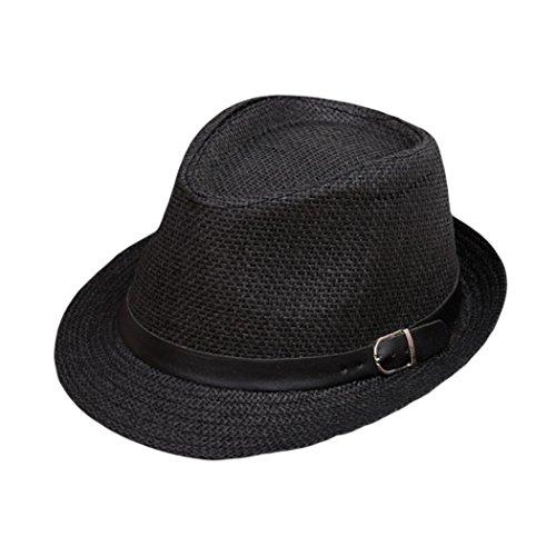 Imagen de zarlle sombrero de jazz británico sombrero de paja de sombra de playa transpirable al aire libre ocasional de los hombres de las mujeres se divierte la  de béisbol talla única, black