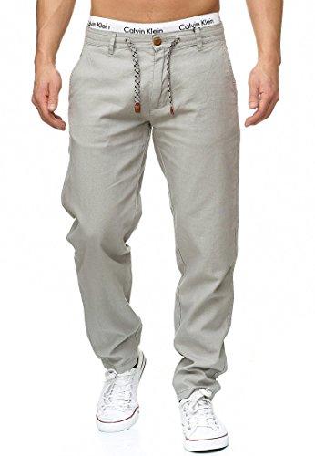 INDICODE Herren Veneto Leinen-Hose lange Hose bequeme Stoffhose aus hochwertiger Leinenmischung Lt Grey M