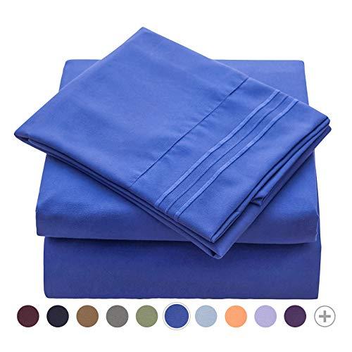 Veeyoo - Set biancheria da letto con tessuto antipiega, ipoallergenico, di qualità albergo, extra morbido con bordi profondi, composto da federe e lenzuola, Microfibra, Imperial Blue, Singolo