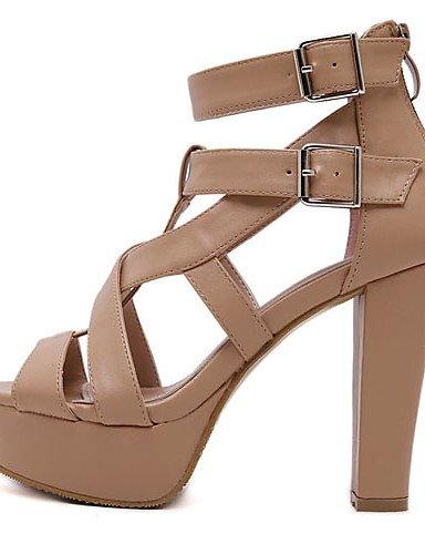 UWSZZ IL Sandali eleganti comfort Scarpe Donna-Sandali-Formale / Casual-Tacchi / Spuntate / Plateau-Quadrato-Finta pelle-Nero / Tessuto almond Black