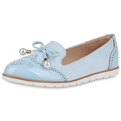 SCARPE VITA Damen Slippers Loafers Lack Sommer Schuhe Slip On Flats Zierperlen 164604 Hellblau Zierperlen 40