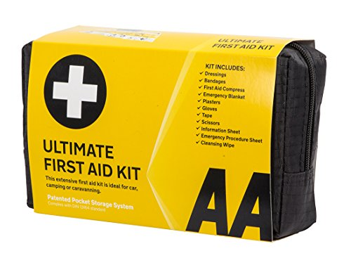 AA Ultimate First Aid Kit, Conforms to DIN 13164 Standard, Black