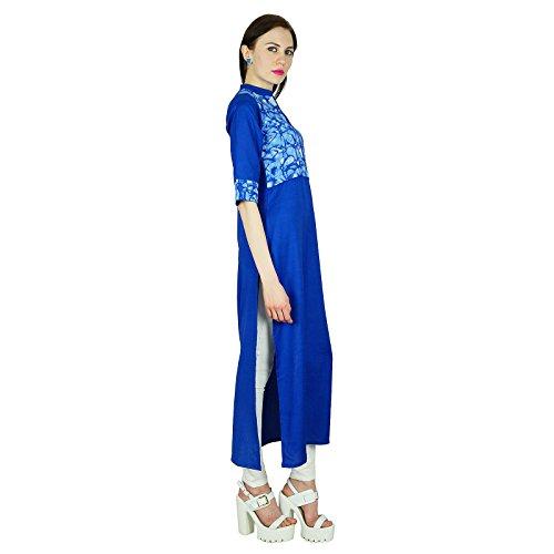 Bimba Long coutume ethnique Kurti formelle indienne Tunique à manches 3/4 Blouse Bleu