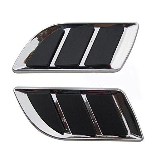 Abdeckung Vent Haube (Auto Dekorative Aufkleber ABS Auto Air Flow Intake Scoop Vent Abdeckung Haube Stilvolle Auto Modifikation Zubehör OB-616 Farbe: schwarz & Silber)