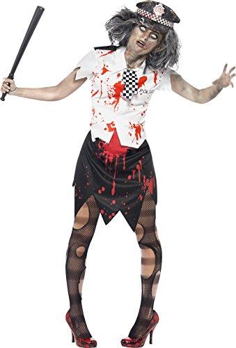 Zombiekostüm Polizistin mit Rock Bluse mit Krawatte und Mütze, (Für Polizisten Erwachsene Kostüm)