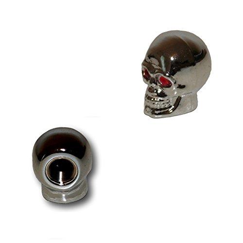 KUSTOM66 2er Set Ventilkappen - Totenkopf mit roten Augen - Skull v1 - für Motorrad Chopper Harleys Custom Bikes usw.