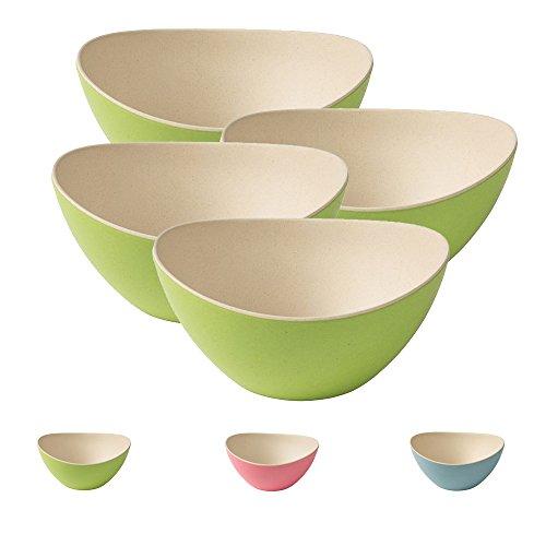 4 trendige Bambus Holz Salatschüssel von Kaufdichgrün I Snackschalen Dipschalen wiederverwendbar, umweltfreundlich, BPA frei I Müsli Schalen Bambus Set oval 14 x 15,5 cm natur weiß rosa (Schüssel-set Bpa-frei)