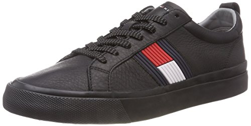 Tommy Hilfiger Herren Flag Detail Leather Sneaker, Schwarz (Black 990), 43 EU