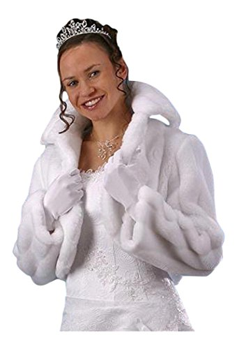 Jacke Bolerojacke Bolero Brautbolero Jäckchen Brautjacke Hochzeit Winter Web-Pelz Fell Modell A1 weiß 44