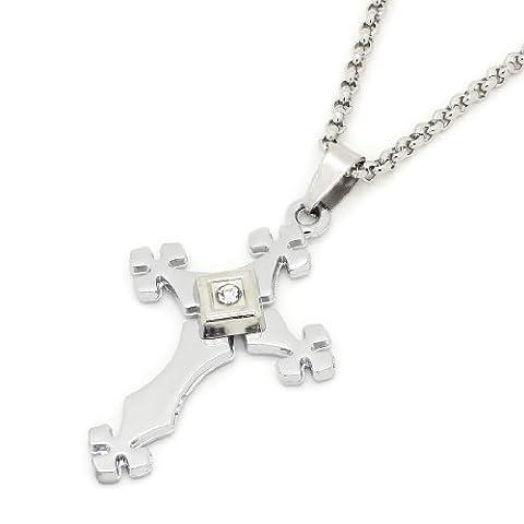 2 PIECE SET: Collier cha?ne de 17 pouces en acier inoxydable avec Rolo Diamante Square & pendentif croix (VIE GARANTIE)