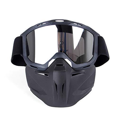 Motorrad-Schutzbrille-Maske abnehmbare Harley-Art schützen Polsterungs-Sturzhelm-Sonnenbrille mit entfernbarer Gesichtsmaske-Mundfilter-justierbarem Bügel Weinlese-Straßen-Reiten UVmotorrad-Gläsern Sc