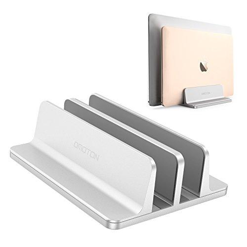 OMOTON [Neuste Version] Verstellbarer vertikaler Laptop Ständer, doppelplatzer Ständer für alle Tablet und Notebooks - Perfekt für MacBook, Lenovo und andere, Doppelplatz, Silber