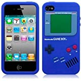 Gameboy Style Silicone Skin Case Cover For iPhone 4 4S Blue (Plus free Iphone 4/4S Front & Back Screen Protector)