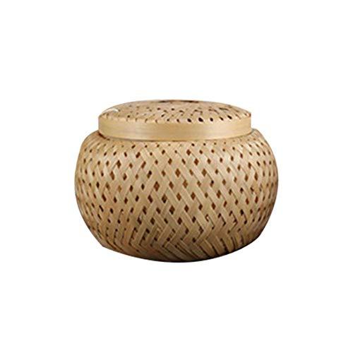 Kbsin212 Runde Bambus-Tee-Box - Bambus Gewebte Tee-Aufbewahrungskörbe porable Mini Teedosen Atmungsaktiv Tee-Aufbewahrungsbox Aufbewahrungskorb Handarbeit Bambus, Farbe, M - Mini-bambus-box