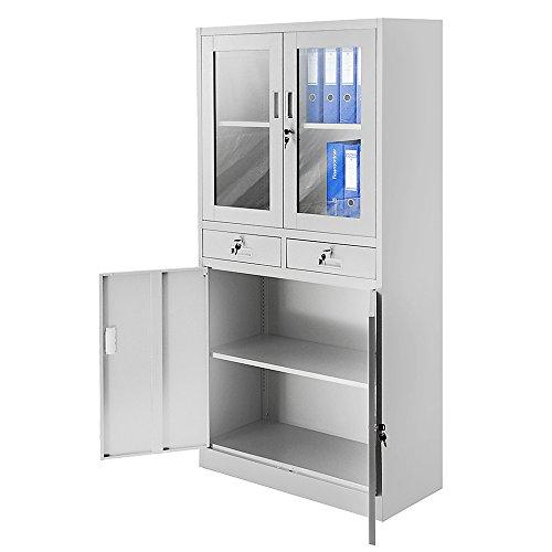 Aktenschrank Flügeltür aus Glas Schubladen Medizinschrank Büroschrank Stahlschrank 185 cm (grau/grau) - 2