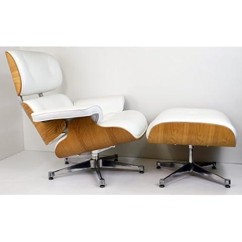 Premium Bianco o Nero In pelle poltrona e ottomana da Charles Eames in Palissandro, palissandro chiaro o scuro, Noce o Ashwood White
