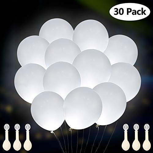 GIGALUMI Paquete de 30 Globos con luz LED Blanca, Luces de Fiesta Constante Dura 12 Horas, Ideal para cumpleaños, Decoraciones de Bodas, Fiestas, rellenables con Helio, Aire Acondicionado