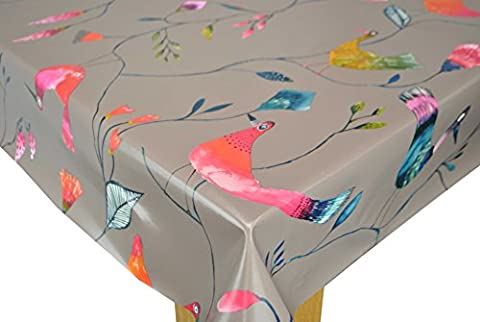 TAUPE Barmy Birds PVC Tablecloth by Karina Home 200 x 137cm