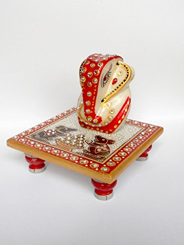 Indyhaat Marble Ganesh Chowki(10.16cm)  available at amazon for Rs.155